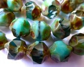 15 Czech Glass Fire Polish Translucent Aqua/Opaque Green Turquoise Center Cut with Picasso Finish 11x10mm size