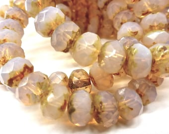 NEW COLOR  25 Translucent Pale Rose Opal  Fire Polish Roundel Beads with a Light Picasso Fisnish 9x6mm