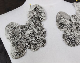 Cute    embroidered  flowers applique 2 pieces listing