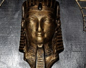Egyptian deco display shelf - Neoclassical - Empire - figural - bust - antique - gold - gilt - ormolu - carved - face - head - pharaoh - tut