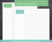 Checklist Pages for Large Teacher Planner