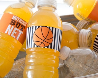 Basketball PRINTABLES Party Drink Label (INSTANT DOWNLOAD) by Love The Day