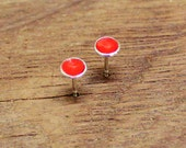 Silver Stud Earrings / red enameled / Round Sterling Silver Ear Studs / Red Enamel / Fire enamel