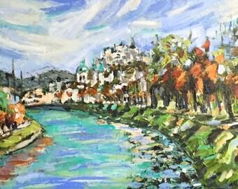 "Salzburg View 10""x20"" acrylics on canvas original painting on canvas"