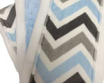 Gray, Blue and White Chevron and Baby Blue Dot Minky Burp Clothes Set of Three