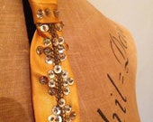 Fabulous vintage 1950s 1960s gold satin sequinned and beaded cocktail showgirl waitress neck tie!