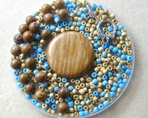 Wood Jasper Coin Pendant, Glass Seed Beads, Beads for Jewelry Making, DIY Jewelry Kit, Craft Supplies, Bead Kits, Wood Jasper Round Beads