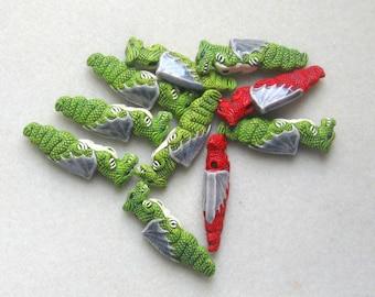 Peruvian Ceramics Dragon Beads Winged Dragon Craft Supplies Jewelry Making Ceramic Beads  Jewelry Supplies Green Red Dragon Beads (2)
