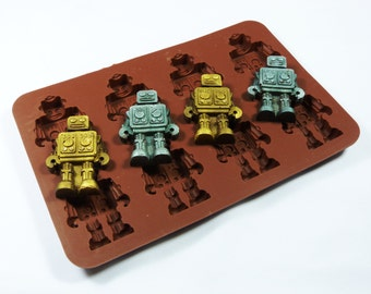 Robots Retro Silicone Chocolate / Candy Bakeware Mould for Cookies, Cupcake Toppers, Wax Melts, Resin, Decorations