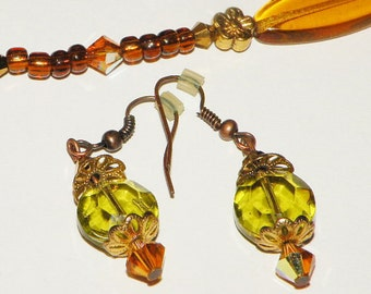 Vintage Multi Bead Glass Necklace and Earring Set