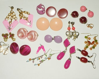 Huge vintage Costume Jewelry Earring lot for Wear or altered art projects