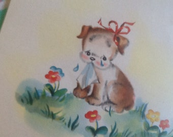 goodbye puppy with hanky card