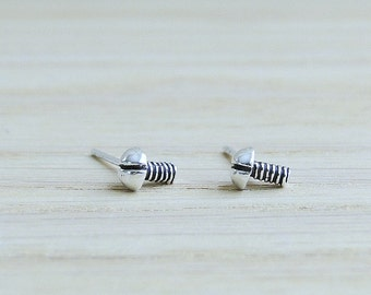 Sterling silver Bolts and Nuts stud earrings, Industrial Jewelry, Screws Nuts, Geeky, geometric jewelry, modern jewelry, simple silver studs