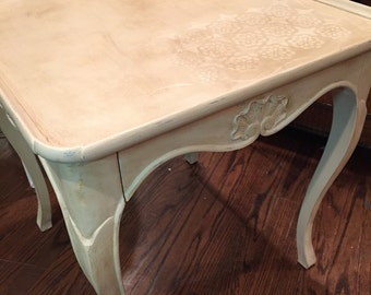 Imported French Antique . Bodart Table . Curvy with Drawer . End or Side Wooden . Hand Painted Stencil Wax . Chalk Paint Artisan .