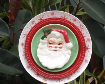 Glass Plate Flower Christmas holly vintage santa red limited edition repurpose garden art