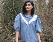 Vintage 1980s Chambray Denim with White FRINGE Puff Sleeve RODEO Blouse Cowgirl