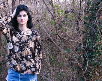 Vintage 1980s Fall FLORAL PRINT  SECRETARY blouse Top