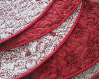 Christmas Tree Skirt, Vintage Modern Tree Skirt,Wholecloth Tree Skirt, Vintage Christmas, Red and Cream Christmas Decor, READY TO SHIP