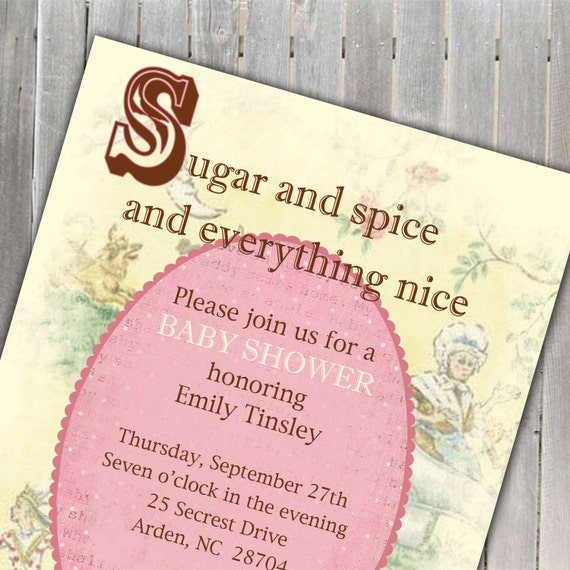 Sugar And Spice Baby Shower: Items Similar To Sugar And Spice Nursery Rhyme Baby Shower