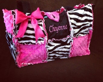Modern Chic Handbag Custom Made Zebra Hot Pink Diaper Bag Handbag Girl or Boy