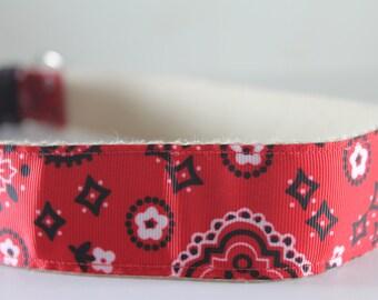Red Bandana Paisley Bandana extra large hemp dog collar