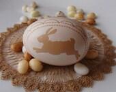 Hand Carved & Etched Chicken Egg - Bunny Design