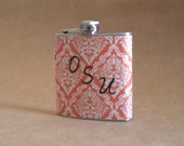 Oklahoma State or Oregon State Orange and White Victorian Diamond Print 6 ounce Flask with 3 Vinyl Initials  KR2D 5017
