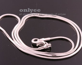 4pcs- 16inch Rhodium Plated solid brass 1.13mm thickness Snake Chain for beads with Lobster Clasp (N135S)