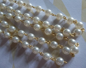White 6mm Glass Pearls on Gold Beaded Chain - Qty 18 inch strand