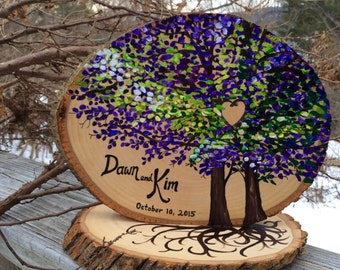 Rustic live edge wood wedding table decoration trees and roots hand painted, personalized! #2016JL0004