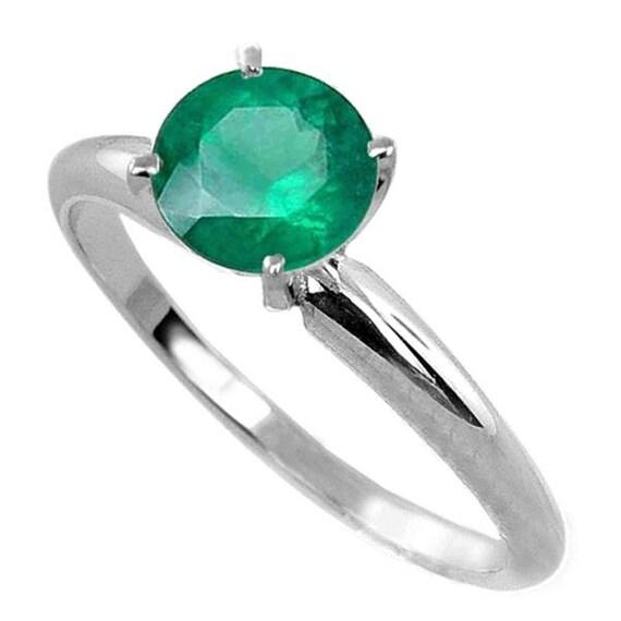 emerald ring 14k white gold ring