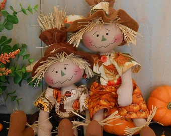 Harvest Scarecrow Raggedy Doll # 83 PDF e Pattern Fall Primitive Folk Art Sewing Craft Autumn Fabric