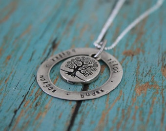 Family Tree Necklace with Names, Personalized Necklace, Hand Stamped Family Necklace, Sterling Stamped Necklace, Family Tree