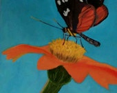 Monarch Butterfly Spring original oil painting