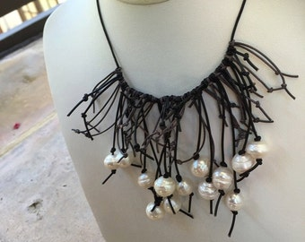 SALE!!!Black and Gray Leather Cord Necklace with Freshwater Pearls and a Sterling Silver Closure