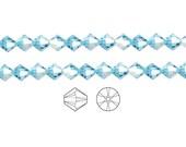 Swarovski Crystal Beads Aquamarine AB 5328 Xilion Bicone 3mm Package of 48