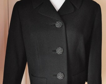 Vintage Wool Jacket, Cropped Style with Fancy Buttons and 3/4 Sleeves, 1950s, 1960s