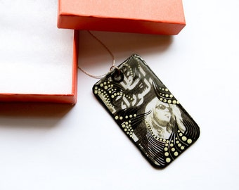 """Large, Rectangular Vintage Egyptian Movie Poster Inspired with Mixed Media Upcycled """"Al-Quds"""" Palestinian Newspaper Necklace"""