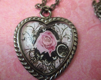 Pink Rose in a Heart Frame