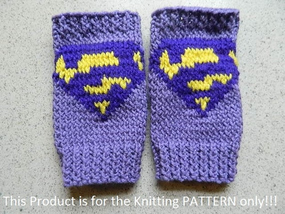 Superman Knitting Pattern : Knitting Pattern: Bizarro Superman Fingerless Gloves