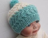 Knit Baby Blue/ Cream Pompom Hat. 3 - 9 months