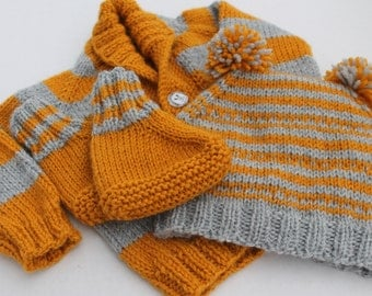 Knit Baby Boy Cardigan, Pompom Hat and Booties Set. 6 months. Mustard Grey Baby Boy Set. Mustard Cardigan, Booties. Mustard Grey Pompom Hat