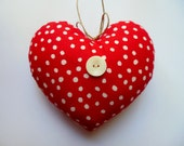 LITTLE PILLOW HEART * Red and White Polka-dots * Country Cottage Heart  * Red