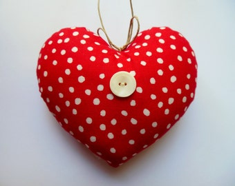 LITTLE PILLOW HEART * Mini Heart * Red and White Polka-dots * Country Cottage Heart  * Red * Happy Mother's Day *
