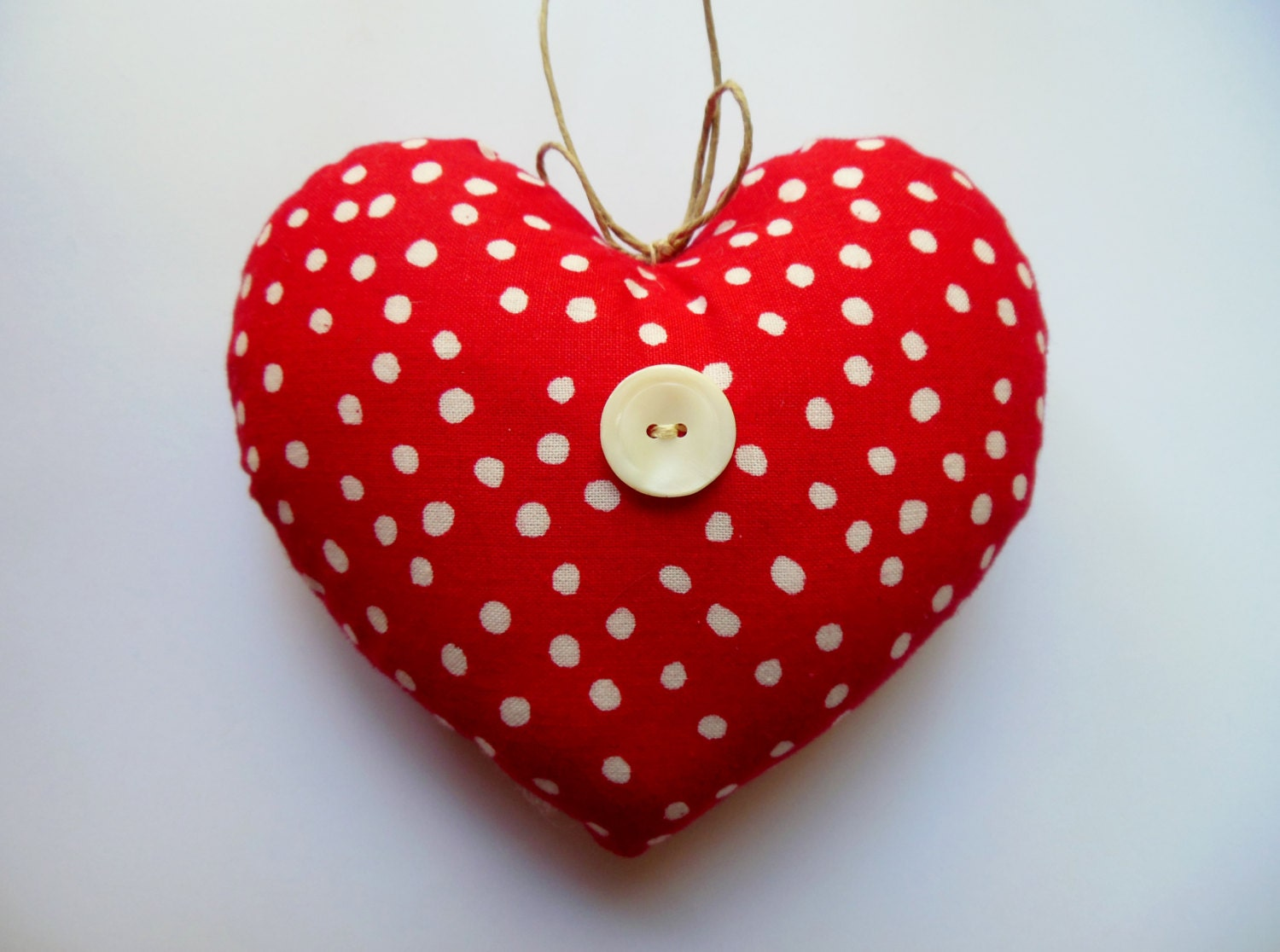 LITTLE PILLOW HEART Mini Heart Red And White Polka-dots