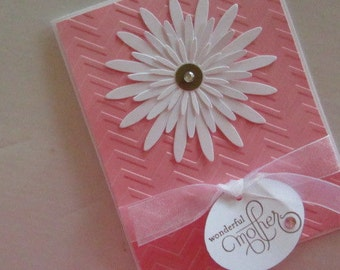 Pink and White Wonderful Mother Card with large daisy and tag, embossed in chevron design