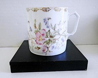 Vintage Porcelain Mug Floral Stencil Design W Gold Accents KPM Mark
