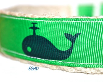 Blue Whale Dog Collar, Navy Blue and Green Dog Collar, Navy Dog Collar, Nautical Dog Collar