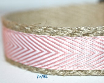 Pink Dog Collar, Adjustable Dog Collar, Stripe Dog Collar, Chevron Dog Collar, Girl Dog Collar, Summer Dog Collar