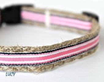 "Pink Stripe Dog Collar, 5/8"" Wide Collar, Preppy Stripe Dog Collar, Narrow Dog Collar, Girl Dog Collar"